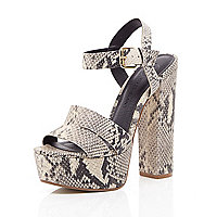 Beige snake print leather platform sandals