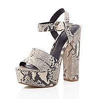 Beige snake print leather platform sandals