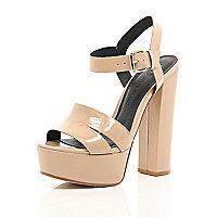Nude patent leather platform sandals