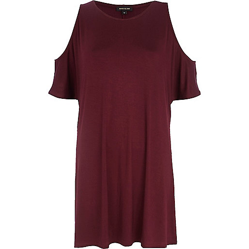 Dark red cold shoulder t-shirt dress