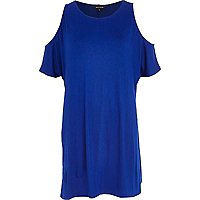 Blue cold shoulder t-shirt dress