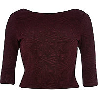 Dark red jacquard open twist back crop top