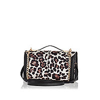 Cream leopard print cross body bag