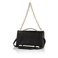 Black croc chain strap shoulder bag