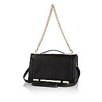 Black croc chain strap shoulder bag