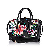 Black floral print frame tote bag