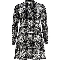 Black blurred check print turtle neck dress