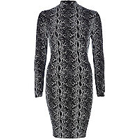 Silver snake print bodycon dress