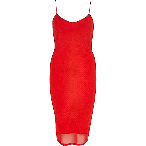 Bright red chiffon hem slip dress