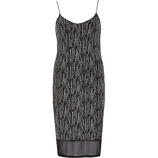 Silver metallic chiffon hem slip dress
