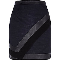 Navy leather-look colour block mini skirt