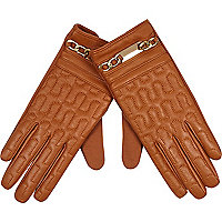 Tan chain trim leather gloves