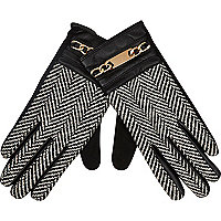 Black herringbone chain trim gloves