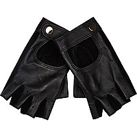 Black leather fingerless driving gloves