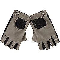 Grey leather fingerless driving gloves