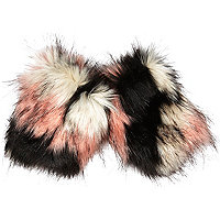 Pink faux fur armwarmers