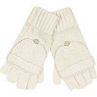 Cream knitted mitten gloves