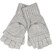Grey knitted mitten gloves