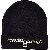 Black chain padlock beanie hat