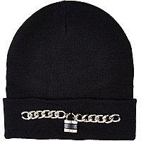 Black chain padlock beanie hat