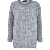 Grey fluffy zip trim jumper
