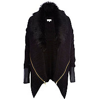 Navy faux fur knitted cardigan