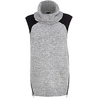 Grey colour block roll neck sleeveless jumper