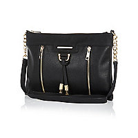 Black metal trim cross body bag