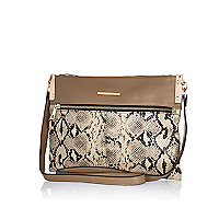 Khaki snake panel cross body bag