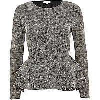 Grey boucle long sleeve peplum top