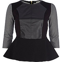 Black leather-look front peplum top