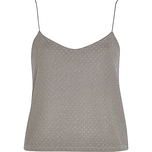 Grey shoestring cami top