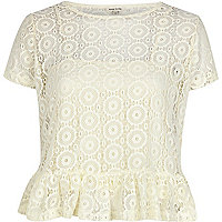 Cream lace peplum t-shirt
