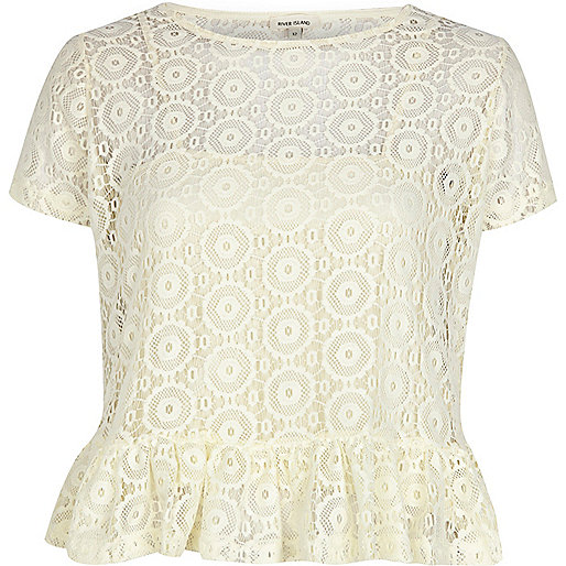 Cream lace peplum t-shirt
