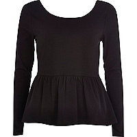Black long sleeve peplum t-shirt