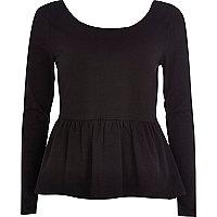 Black long sleeve peplum t-shirt