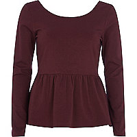 Dark red long sleeve peplum t-shirt