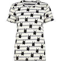 Grey stripe cat print t-shirt