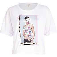 White sequin photo print boxy t-shirt
