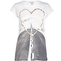 White road print foiled heart fitted t-shirt