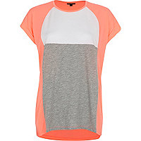 Coral colour block t-shirt