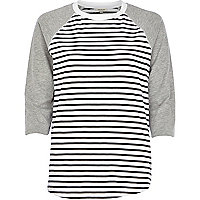 Black and white stripe raglan sleeve t-shirt
