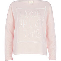Pink I woke up like this cropped sweatshirt