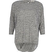 Grey marl twist back top