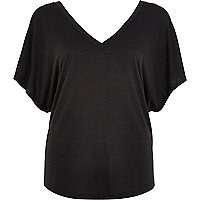 Black V neck batwing t-shirt