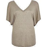 Beige marl V neck batwing t-shirt