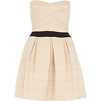 Cream bandage bandeau prom dress