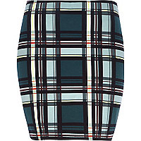 Teal check mini tube skirt