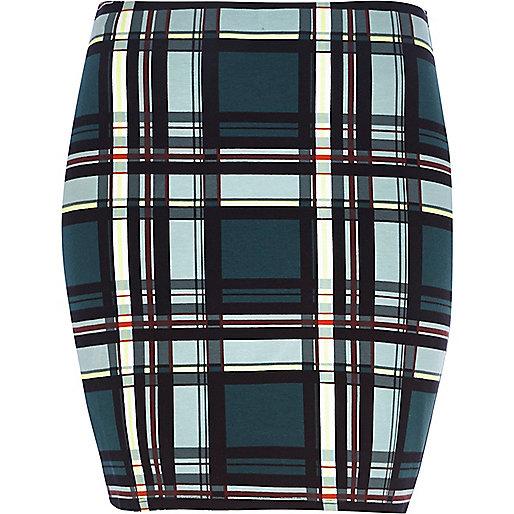Teal check mini tube skirt