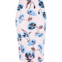 Light pink floral print pencil skirt